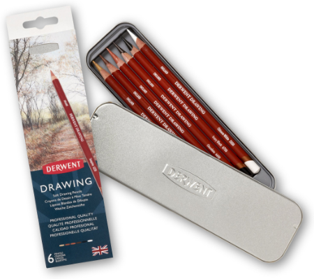 Derwent Drawing Pencils Tin of 6 + Sharpener