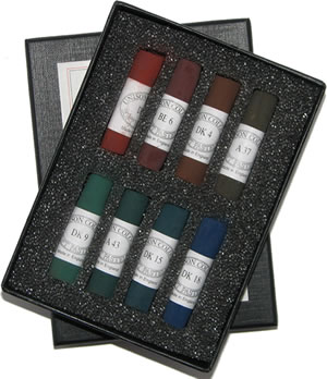 Unison Colour Hand Made Soft Pastels - Dark Set of 8