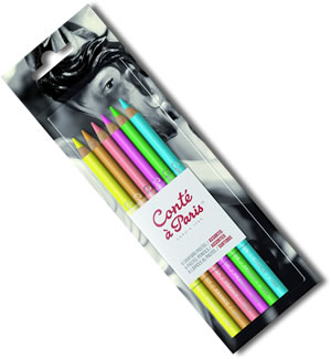 Conte Pastel Pencils Blister Pack of 6 Assorted Colours