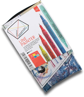 Derwent Graphik Line Painter Pens Pack of 5 Palette 1