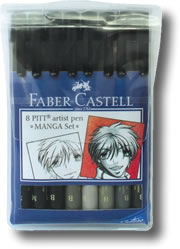 Faber Castell Pitt Artist Brush Pen - Manga Wallet Set 8
