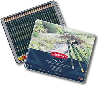 Derwent Artists Colour Pencils Tin of 24