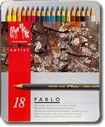 Caran D'Ache Pablo Water Resistant Coloured Pencils Tin of 18