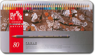Caran D'Ache Pablo Water Resistant Coloured Pencils Tin of 80