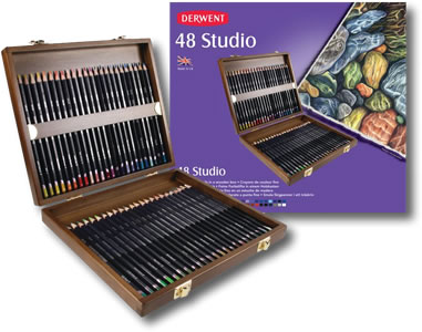 Derwent Studio Wooden Presentation Box of 48 Pencils