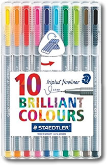 Staedtler Triplus Fineliner Pens - Desktop box of 10 Colours