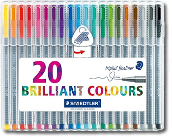 Staedtler Triplus Fineliner Pens - Desktop box of 20 Colours