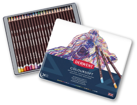 Derwent Coloursoft Pencils Tin of 24