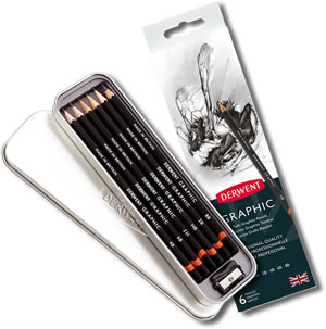 Derwent Graphic Pencils Tin of 6 + Sharpener