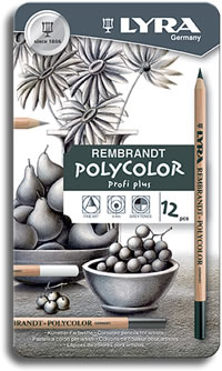 Lyra Rembrandt Polycolor Pencils Tin of 12 Profi Plus (Greys & Blacks)