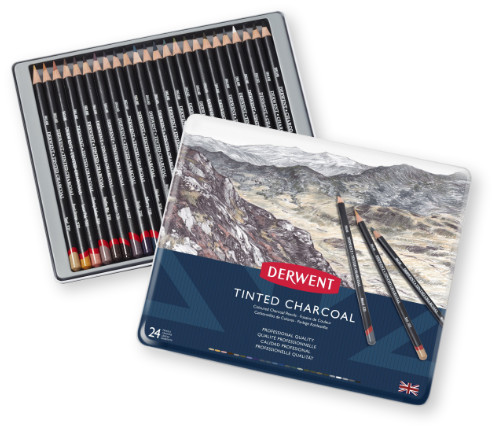 Derwent Tinted Charcoal Pencils Tin of 24