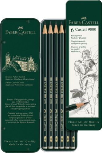 Faber Castell 9000 Black Lead Graphite Pencil - Tin of 6