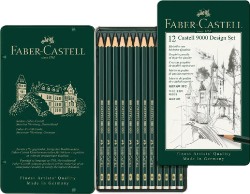 Faber Castell 9000 Black Lead Graphite Pencils - Design Set (Tin of 12)