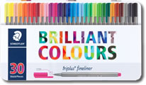 Staedtler Triplus Fineliner Pens - Tin of 30 Colours