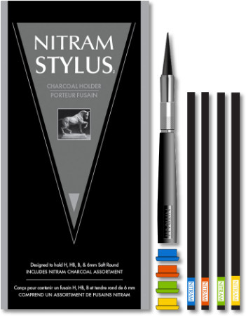 Nitram Charcoal Stylus pack with 4 coloured buttons and 4 charcoals