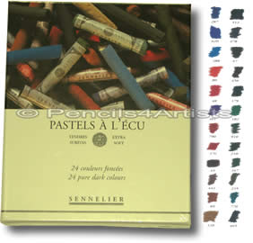 Sennelier Pastels Soft A L'Ecu - Box 24 Pure Dark Colours