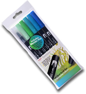 Tombow ABT Dual Brush Pen Set of 6 Ocean Colours ABT-6C-5