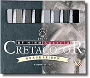 Cretacolor Pastel Carres Set of 8 Greys