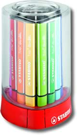 Stabilo Trio Scribbi Fibre Tip Pens - Desk Set of 12