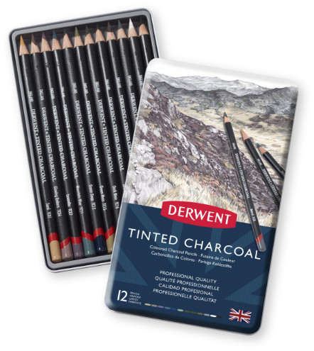 Derwent Tinted Charcoal Pencils Tin of 12