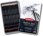 Derwent Graphic Pencils Tin of 12 Soft Grades