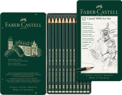 Faber Castell 9000 Black Lead Graphite Pencils - Art Set (Tin of 12)