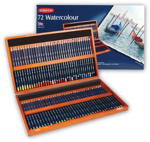 Derwent Watercolour Pencils Wooden Presentation Box 72