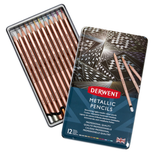 Derwent Metallic Watersoluble Colour Pencils Tin 12