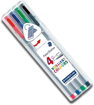 Staedtler Triplus Fineliner Pens - Desk Top Box of 4