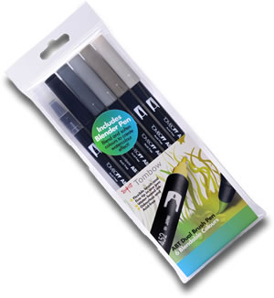 Tombow ABT Dual Brush Pen Set of 6 Greys ABT-6C-4