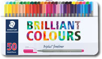 Staedtler Triplus Fineliner Pens - Tin of 50 Colours
