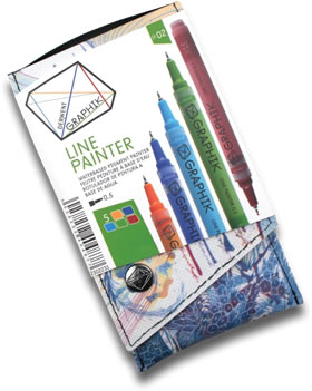 Derwent Graphik Line Painter Pens Pack of 5 Palette 2