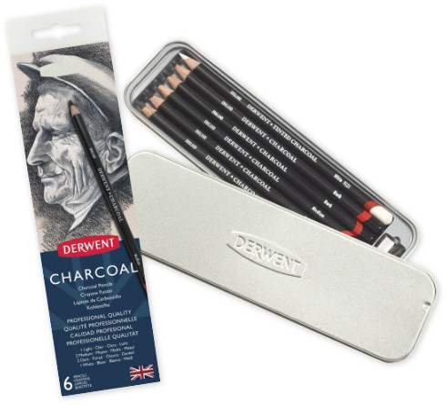 Derwent Charcoal Pencils Tin of 6 + Sharpener