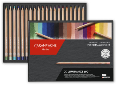 Caran D'Ache Luminance 6901 Permanent Colour Pencil Set of 20 Portrait Colours