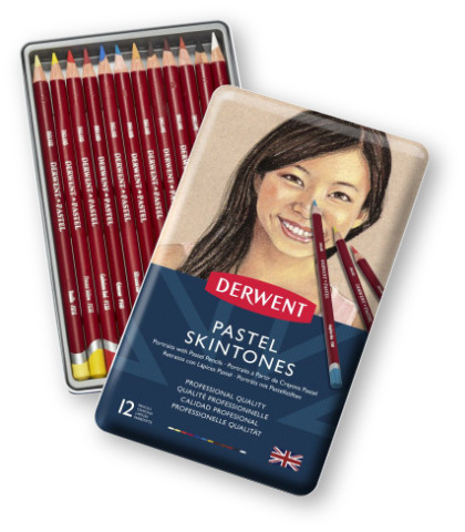 Derwent Skintones Pastel Pencils Tin of 12