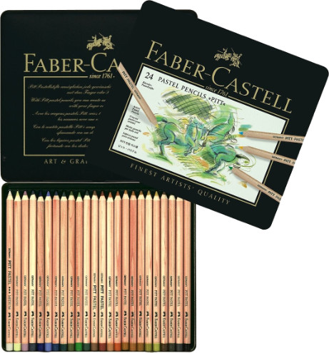 Faber Castell Pitt Pastel Pencils Tin of 24 Colin Bradley Selection