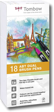 Tombow ABT Dual Brush Pen Set of 18 Pastel Colours