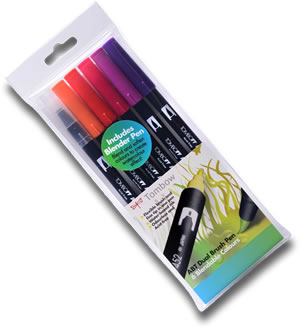 Tombow ABT Dual Brush Pen Set of 6 Sunset Colours ABT-6C-5