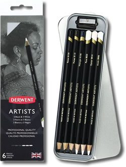 Derwent Artists Black & White Tin of 6