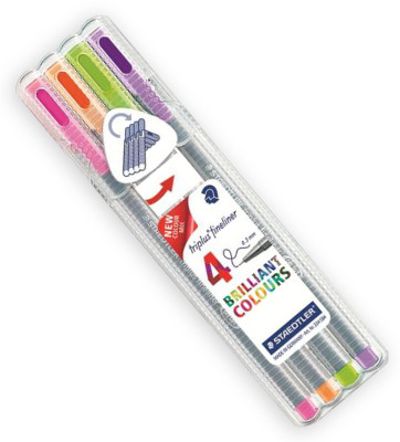 Staedtler Triplus Fineliner Pens - Desk Top Box of 4 Trend Colours