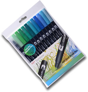 Tombow ABT Dual Brush Pen Set of 12 Ocean Colours