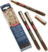 Derwent Graphik Line Maker Pens - Sepia Pack of 3