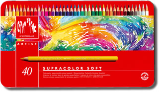 Caran D'Ache Supracolor Soft Aquarelle Watercolour Pencils Tin of 40