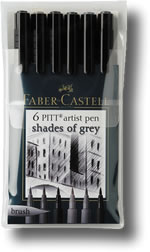 Faber Castell Pitt Artist Brush Pen - Set of 6 Shades of Grey