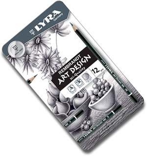 Lyra Art Design Graphite Pencils Tin of 12 -  L2041120