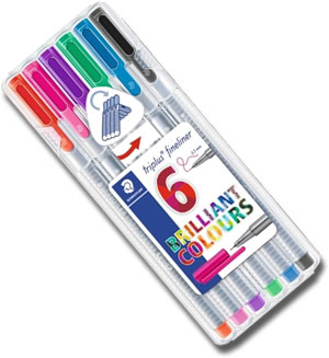 Staedtler Triplus Fineliner Pens - Desktop box of 6 Colours