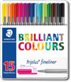 Staedtler Triplus Fineliner Pens - Desktop box of 15 Colours
