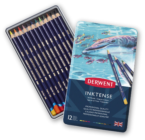Derwent Inktense Watersoluble Pencils Tin of 12