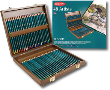Derwent Artists Colour Pencils Wooden Presentation Box of 48 Pencils