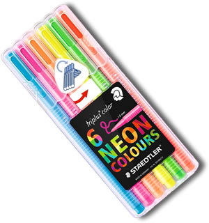 Staedtler Triplus Fineliner Pens - Desktop box of 6 Neon Colours